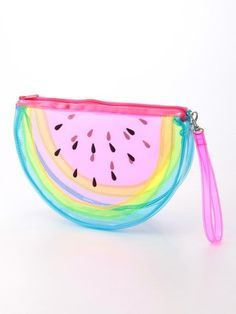 see through rainbow watermelon pouch Cute Purses, Purses And Bags, Things To Buy, Girly Things, Street Style Outfits, Harajuku, Cute School Supplies, Clear Bags, Cute Bags