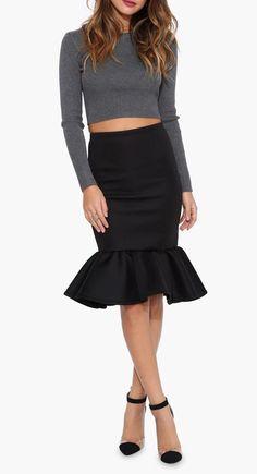 Mermaid Midi Skirt in Black