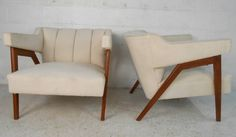 Pair of Tufted Mid-Century Modern Canvas Club Chairs | From a unique collection of antique and modern club chairs at https://www.1stdibs.com/furniture/seating/club-chairs/