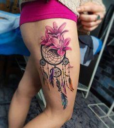 Tatouage De Femme Tatouage Attrape Reve New School Sur Cuisse
