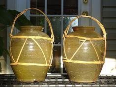 2 Large vintage Pottery Stoneware Salt Glazed Jar Vase Incised