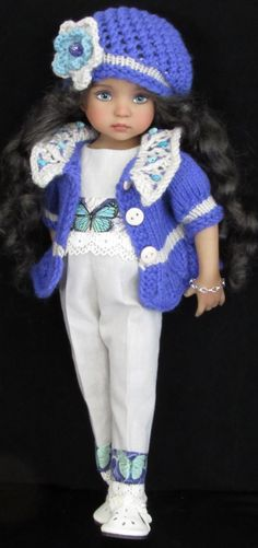 """Sweater,jumpsuit,hat set made for effner little darling,effner bjd 13"""" dolls"""