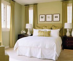 Sage green bedroom- I think we need a simple head board, decorative pillows and window treatments similar to these.