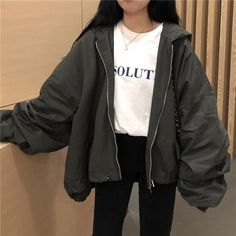 Windbreaker loose gray ginger hooded jacket check out these awesome korean fashion outfits 3915 koreanfashionoutfits Sporty Outfits, Retro Outfits, Mode Outfits, Cute Casual Outfits, Girl Outfits, Fashion Outfits, Fashion Belts, Vintage Outfits, Tomboy Winter Outfits