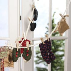 Miniature Winter Clothesline Garland - miniature holiday Clothesline - mini Christmas clothing - miniature fairy garden