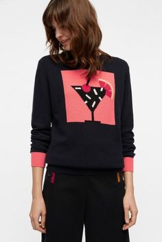 NEW Navy Cocktail Framed Cashmere Sweater