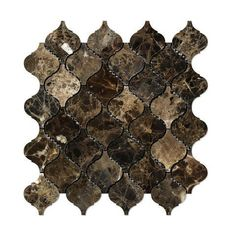 "Dark Emperador Brown Marble Mosaic Tile with Polished Finish - Moroccan Arabesque Lanterns Pattern. Rich dark brown marble with tan and cream veining. SHEET SIZE: 10 1/2"" X 12"" X 3/8"" CHIP (LANTERN) SIZE: 3"" x 3"" MATERIAL GRADE: Premium MOUNTED ON: Fiber mesh PROJECT TYPES: Commercial or Residential PRICED: Per sheet INSTALLATION: Easy Non toxic, no radiation, chemical resistant, extreme weather resistant USES: Kitchen backsplash, bathroom accent wall, bathroom floors, shower, tub surround."
