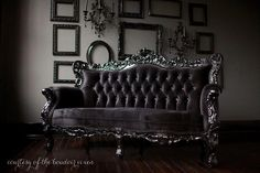 black velvet tufted couch