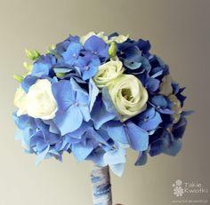 Blue Hydrangea, White Lisianthus, White Spray Roses Wedding Bouquet