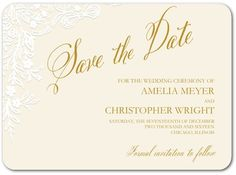 Embossed Porcelain - Signature White Save the Date Cards - Claire Pettibone - Light Blue - Blue : Front