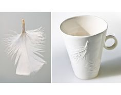Porcelain cup with elegant relief decoration. It's nice to feel the purity and softness of the material. This cup with new design has dainty and