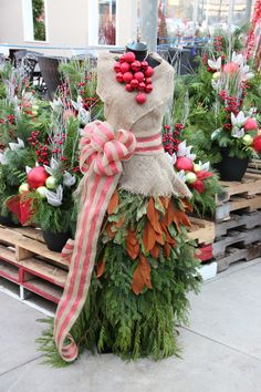 Christmas Outdoor Evergreens made into a fashionable holiday dress!