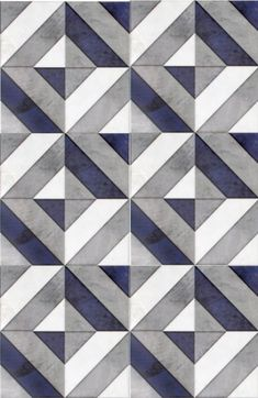 Go bold with our favorite geometric patterned tile, Insight, featured on carrara marble. Use this modern design as bathroom floor tile or as a kitchen backsplash. The dark navy blue shade in this luxury tile will capture the attention of all your guests. Kitchen Wall Tiles, Room Tiles, Bathroom Floor Tiles, Kitchen Flooring, Tile Floor, Kitchen Backsplash, Backsplash Ideas, Kitchen Countertops, Kitchen Paint