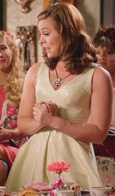 AnnaBeth's yellow jacquard dress on Hart of Dixie.  Outfit Details: http://wornontv.net/27270/ #HartofDixie