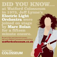Did you know... at Watford Colosseum in 1973, Jeff Lynne's Electric Light Orchestra were joined on stage by Marc Bolan for a fifteen minute encore. #ELO #MarcBolan #TRex #Watford
