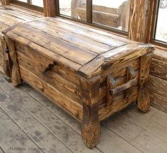 """No idea what the words say but the chest is lovely - Сундук под старину """"Богатырь"""" Into The Woods, Wooden Projects, Wood Crafts, Recycled Crafts, Woodworking Plans, Woodworking Projects, Wood Trunk, Wood Chest, Log Furniture"""