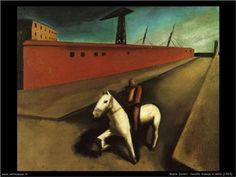 White horse and dock  - Mario Sironi
