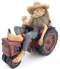 Hillbilly Moonshiner Passed Out On His Tractor Decorative Figurine Redneck Joke