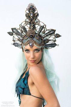Hannah Fraser, mermaid goddess, models Organic Armor in a photo by Adrien Oneiga