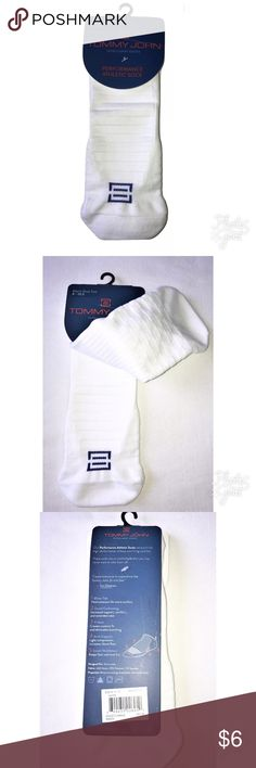 Men's Tommy John Intelligent Performance Socks Tommy John Intelligent Socks Performance Athletic Low Cut Ankle Socks Shoe Size 8-10.5  MSRP on package is $12.00   •Blister Tab - Heel extension for extra comfort  •Zoned Cushioning - Increased support, comfort, and extended wear  •Y-Heel - Creates custom fit and eliminates bunching  •Arch Support - Light compression increases blood flow  •Zoned Ventilation - Keeps foot cool and dry  •Nylon/Polyester/Spandex   Thank you so much! Tommy…