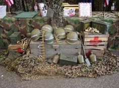 Our military décor can transform a room into a command center with camo- netting and authentic military surplus items. Camouflage Party, Camo Party, Nerf Party, Army Party Decorations, Military Decorations, Party Themes, Party Ideas, Army Birthday Parties, Army's Birthday