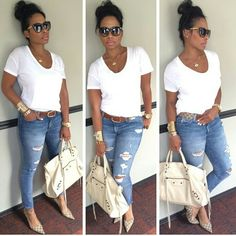 ripped jeans and white tshirt ripped jeans and white tshirt Casual Chic, Cute Casual Outfits, Chic Outfits, Casual Wear, Fall Outfits, Summer Outfits, Fashion Outfits, Fashion Tips, Curvy Girl Outfits