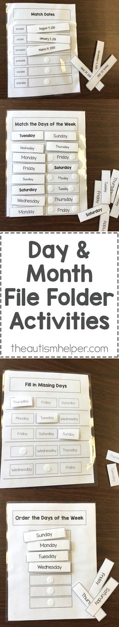 Day and Month File Folder Activities - The Autism Helper Life Skills Classroom, Teaching Life Skills, Autism Classroom, Special Education Classroom, Teaching Tips, Classroom Ideas, File Folder Activities, File Folder Games, File Folders