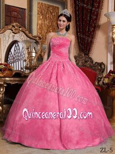 Hot Pink Strapless Sweet Sixteen Dresses by Organza with Appliques