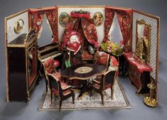 Home At Last - Antique Doll and Dollhouses: 37 Outstanding French Miniature Folding Room with Original Furnishings and Accessories