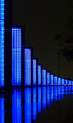 Rows of beautiful blue light - Yokohama Zounohana Park, Japan Yokohama, Image Bleu, Le Grand Bleu, Yves Klein, Love Blue, Blue Style, Blue Aesthetic, Something Blue, Visual Effects