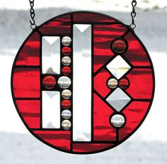 """7 1 4"""" Deep Red Stained Glass Window Round with Bevels and Glass Gems   eBay"""