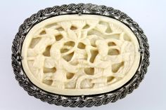 Vintage Chinese Export Sterling Silver Carved Faux Ivory Divorce Pin Brooch