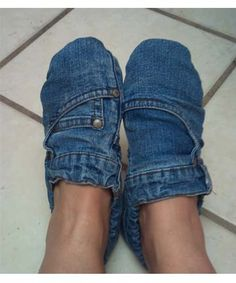 Jean Slippers -- made these for a craft swap based on a pin of my craft partner. I am now going to make myself a pair.