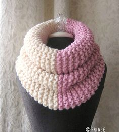 Items similar to El Grande Cowl - Chunky Knit Cowl - Oversized - Pink and Cream on Etsy Crochet Winter, Knit Or Crochet, Crochet Scarves, Crochet Shawl, Poncho Knitting Patterns, Arm Knitting, Knit Patterns, Knit Cowl, Knitted Poncho