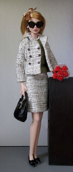 Business black and white bank outfit for Barbie