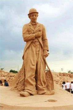 Charlie Chaplin sand sculpture ... Sand art festival in Portugal