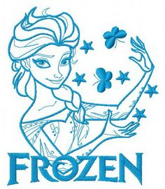 Elsa with butterflies 2 machine embroidery design