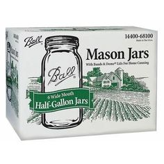 6-Pack 1/2-Gallon Wide-Mouth Canning Glass Jars Food Storage 2 Piece Lid NEW
