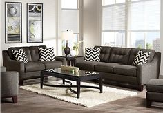 picture of Cindy Crawford Home Hadly Gray 7 Pc Living Room  from Living Room Sets Furniture