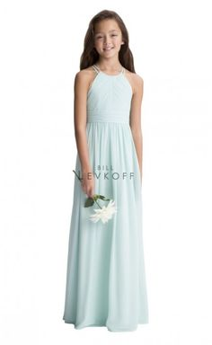 09e3c0714 Style 116102 from Bill Levkoff is a long chiffon junior bridesmaid dress  with a spaghetti strap