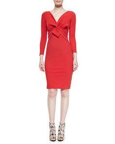 Ilenia Twist-Front Sheath Dress, Passion by La Petite Robe di Chiara Boni at Neiman Marcus.