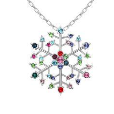 Christmas Necklaces, Zinc Alloy, with 5cm extender chain, Snowflake, platinum plated