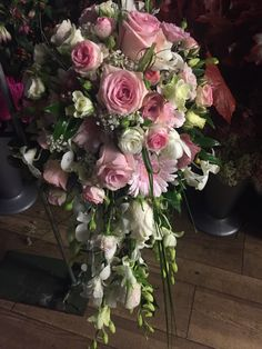 pink rose and orchid shower bouquet #showerbouquet