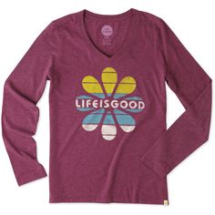 Women's Life is Good Flower Stripes Long Sleeve Cool Vee | Life is Good® Official Site