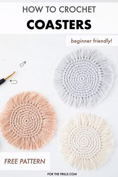 Crochet Coasters for Beginners free pattern video tutorial Up your summer home d cor game with these boho crochet coasters Quick and easy to make these simple crochet coasters have fringe to create a Crochet Simple, Crochet Diy, Crochet Basics, Learn To Crochet, Crochet Crafts, Tutorial Crochet, Macrame Tutorial, Simple Crochet Patterns, Easy Things To Crochet