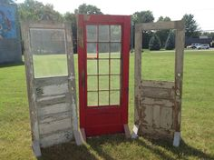 Free standing rustic doors. Great wedding ceremony back drop. Or hang a chandelier from one for some decor at the reception. Rustic chic.