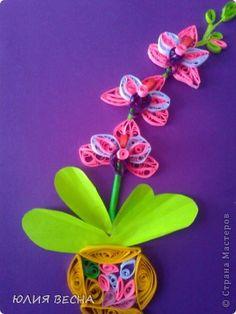 Картина панно рисунок 8 марта Квиллинг Мои орхидеи  вдохновляюсь мастерицами сайта  Бумага фото 2