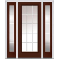 Milliken Millwork 64.5 in. x 81.75 in. Classic Clear Glass GBG Full Lite Painted Majestic Steel Exterior Door with Sidelites, Redwood