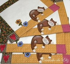 Jogo americano com o tema gatinho preguiçoso, temos varias opções de cores. Feito em patchwork com tecidos selecionados de alta qualidade.
