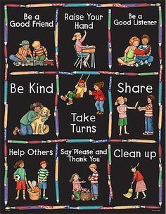 Manners Chart from Susan Winget is part of Manners preschool Convenient, useful learning tools that decorate as they educate! Each chart measures 17 x 22 Related lessons and activities are provid - Preschool Classroom Rules, Manners Preschool, Manners Activities, Manners For Kids, Classroom Rules Poster, Teaching Manners, Classroom Board, Classroom Displays, In Kindergarten